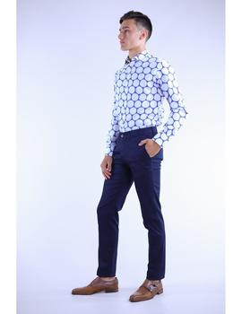 Camisa  YELLOW SKIN Slim Fit Estampada azul y blanco.