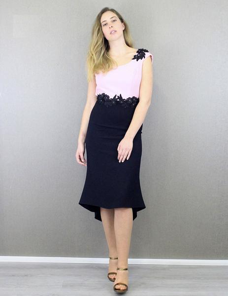 2b10d920e Vestido bicolor largo rosa