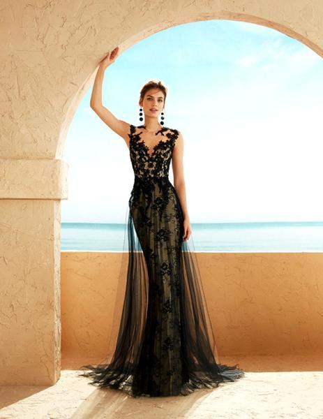 Vestido Largo Marfil Tul Encaje Negro